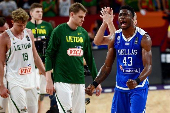 """AFP/""""Scanpix"""" nuotr./Graikijos krepšininkai eliminavo Lietuvos rinktinę iš Europos krepšinio čempionato."""