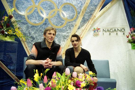 Alfredo Pliadžio nuotr./Povilas Vanagas ir Margarita Drobiazko 1998 m. olimpinėse žaidynėse Nagane.