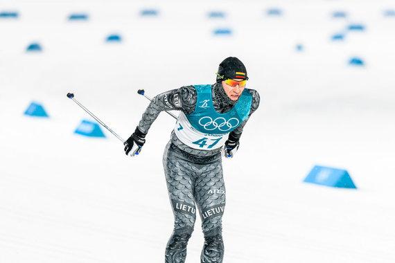 Vytauto Dranginio/LTOK nuotr./Olimpinių žaidynių slidinėjimo sprinto rungties akimirka: Modestas Vaičiulis