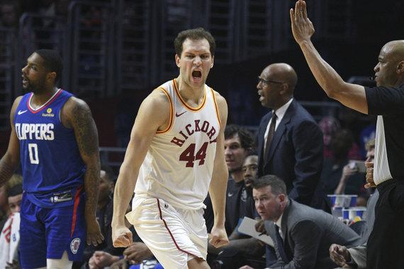 """""""Scanpix"""" nuotr./Bojanas Bogdanovičius ir """"Indiana Pacers"""" komanda išvykoje pranoko """"Clippers""""."""