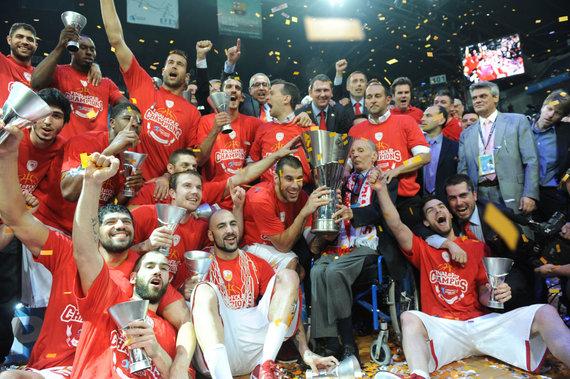 """""""Scanpix"""" nuotr./Martynas Gecevičius su Pirėjo """"Olympiakos"""" klubu dusyk tapo Eurolygos čempionu."""