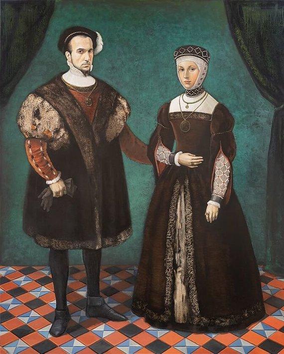J.Kamensko nuotr./Žygimanto Augusto ir Barboros Radvilaitės viso ūgio portreto ekspozicija