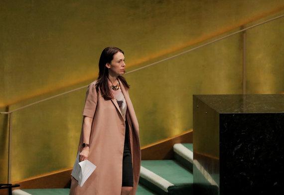 """""""Reuters""""/""""Scanpix"""" nuotr./Naujosios Zelandijos premjerė atsinešė kūdikį į JT posėdžių salę"""