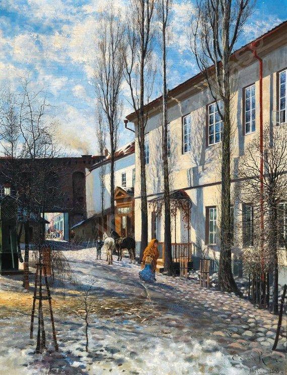 "Vilniaus aukciono / ""Facebook"" nuotr./Edward Mateusz RÖMER (1848-1900) Frühjahr in Wilno"