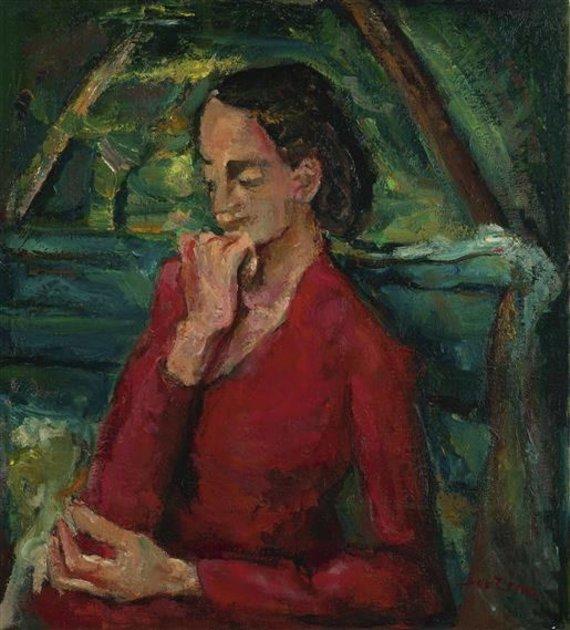 """Vilniaus aukciono / """"Facebook"""" nuotr./Chaïm SOUTINE (1894-1943) Femme en rouge assise sur un banc, c.1942"""