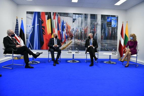Prezidento kanceliarijos nuotr./Baltijos šalių lyderiai susitikime su Joe Bidenu