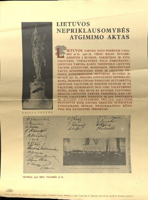 LRT/ Europeana nuotr./Lietuvos nepriklausomybės atgimimo akto plakatas