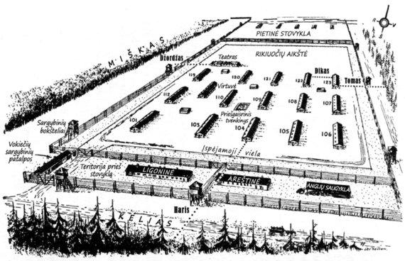 """Leidyklos nuotr./""""Stalag Luft III"""" šiaurinio sektoriaus planas"""