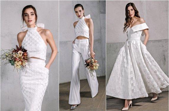 """""""Eva Grin Photography"""" nuotr./Agnės Deveikytės kurtos vestuvinės suknelės ir kelnių bei palaidinės kostiumas"""