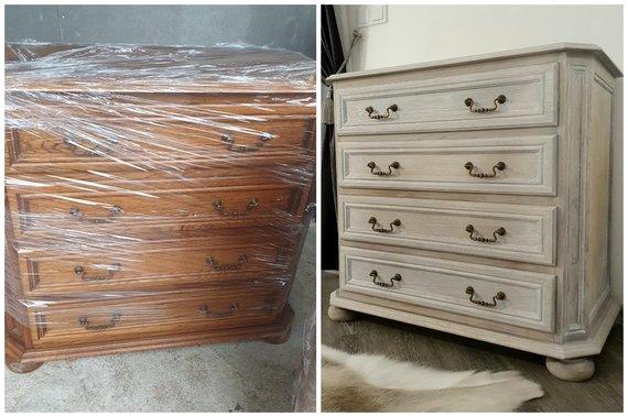 Asmeninio archyvo nuotr./Kristinos atnaujinti baldai: prieš ir po