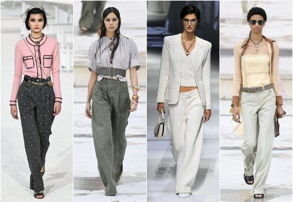 """""""Scanpix""""/SIPA, """"Scanpix""""/""""Sipapres"""" ir Vida Press nuotr./""""Chanel"""", """"Chloé"""" (2 ir 4 modeliai), """"Fendi"""" 2021 m. pavasario ir vasaros kolekcijų modeliai"""