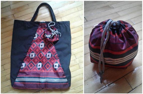 Asmeninio archyvo nuotr./Laimos Mereckienės iš sulūžusio skėčio pasiūtas pirkinių krepšelis