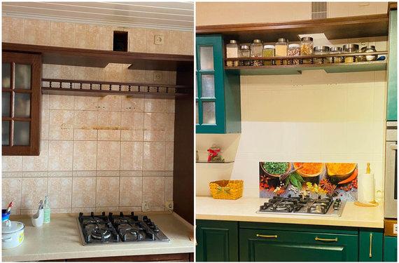 Asmeninio archyvo nuotr./Virtuvės plytelės prieš atnaujinimą ir po jo