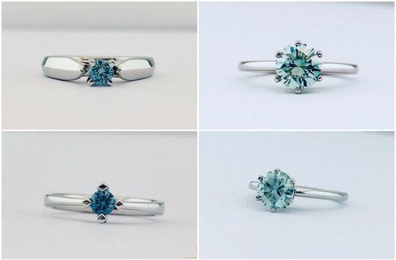 """Gamintojo nuotr./""""Fashion Gold"""" žiedai su mėlynaisiais deimantais"""