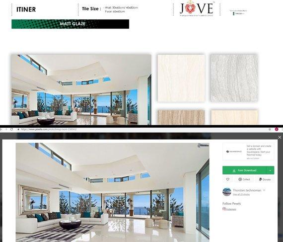 """15min montažas/Reklaminis """"Oman Porcelain"""" katalogas – vienas puslapis su neoriginalia nuotrauka"""