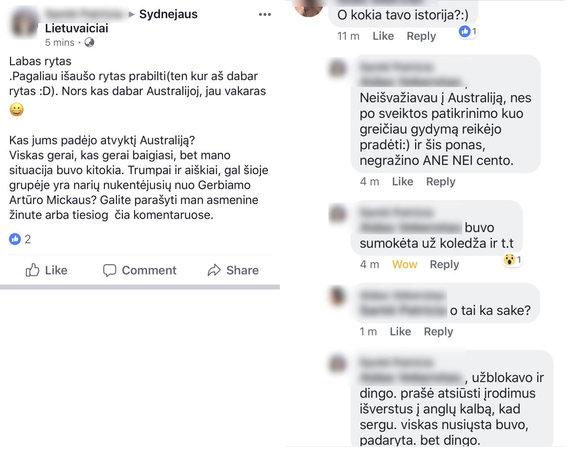"""""""Facebook"""" nuotr./Merginos pasidalinta istorija Australijos lietuvių grupėje socialiniame tinkle"""