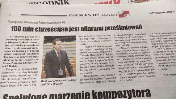 """Ernesto Naprio/15min nuotr./Šimtas milijonų krikščionių yra aukos, skelbia antraštė """"Tygodnik Wilenszczyzny"""""""