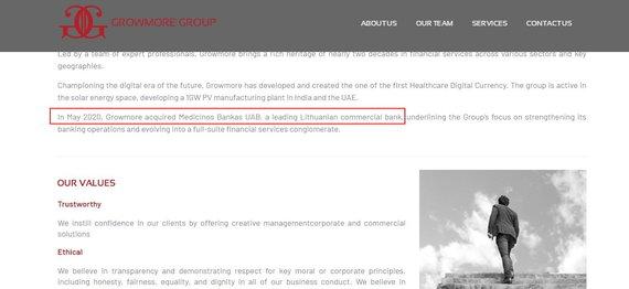 www.growmoregroup.co.uk internetinė svetainė/Svetainėje nurodoma, kad Medicinos bankas jau įsigytas
