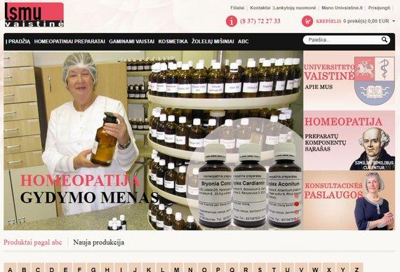 15min nuotr./LSMU vaistinės interneto svetainės titulinis puslapis