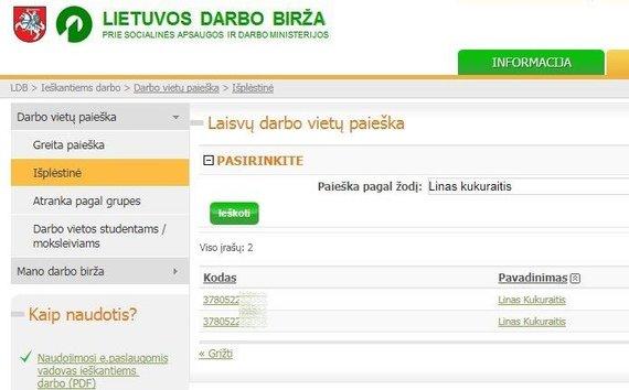 15min nuotr./Viešas ir socialinės apsaugos ir darbo ministro Lino Kukuraičio asmens kodas