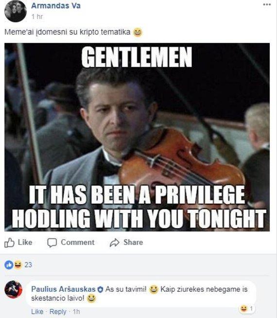 """""""Facebook"""" nuotr./Įrašas socialiniame tinkle apie kriptovaliutų nuosmukį"""