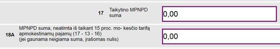 15min nuotr./Preliminarios deklaracijos 17-ame langelyje ne visuomet teisingai nurodyta MPNPD suma