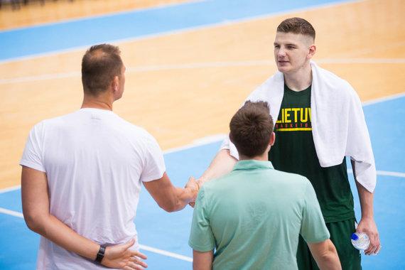 Žygimanto Gedvilos / 15min nuotr./Lietuvos vyrų krepšinio rinktinės treniruotė Osijeke
