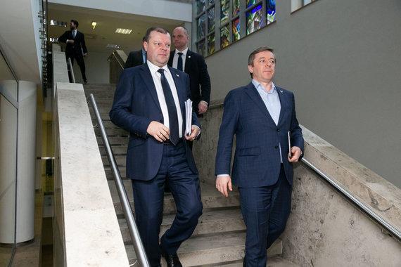 Žygimanto Gedvilos / 15min nuotr./Saulius Skvernelis ir Ramūnas Karbauskis