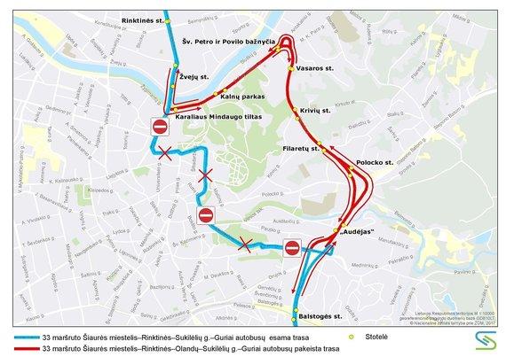 Vilniaus miesto savivaldybės nuotr./33 maršruto autobusų trasa