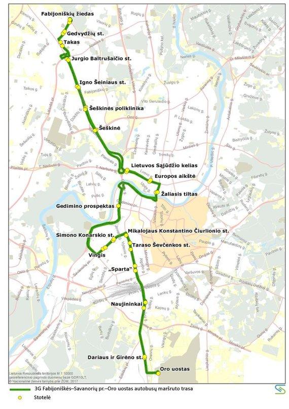 Vilniaus miesto savivaldybės nuotr./3G maršruto autobusų trasa liepos 6 d.