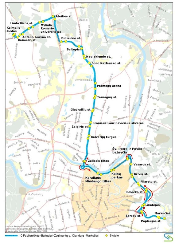 Vilniaus miesto savivaldybės nuotr./10 maršruto autobusų trasa liepos 6 d.