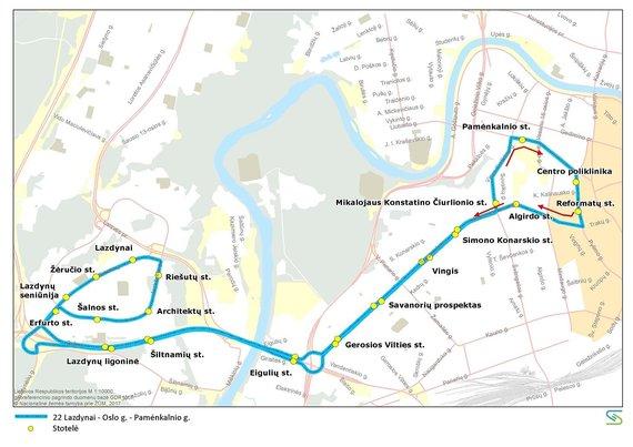 Vilniaus miesto savivaldybės nuotr./22 maršruto autobusų trasa liepos 6 d.
