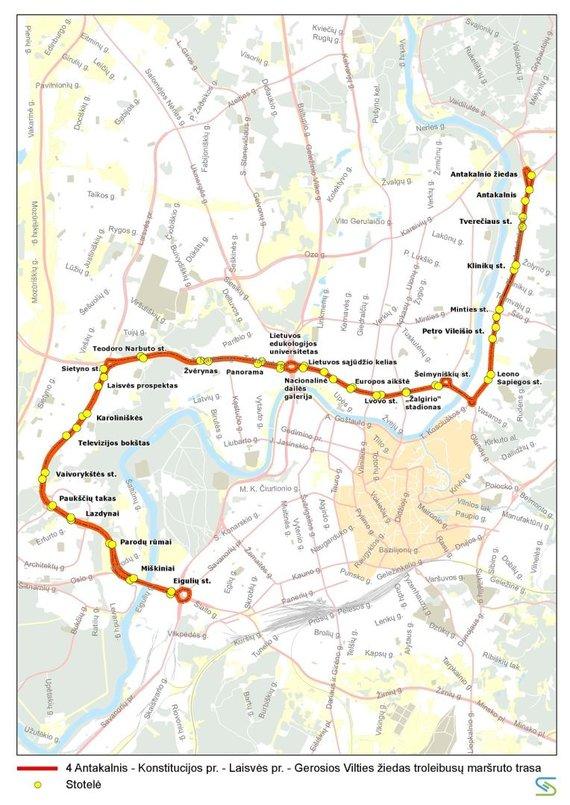 Vilniaus miesto savivaldybės nuotr./4 maršruto troleibusų trasa liepos 6 d.