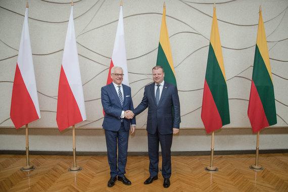 LRVK/Dariaus Janučio nuotr./Premjeras Saulius Skvernelis susitiko su Lenkijos užsienio reikalų ministrų Jaceku Czaputowicziu