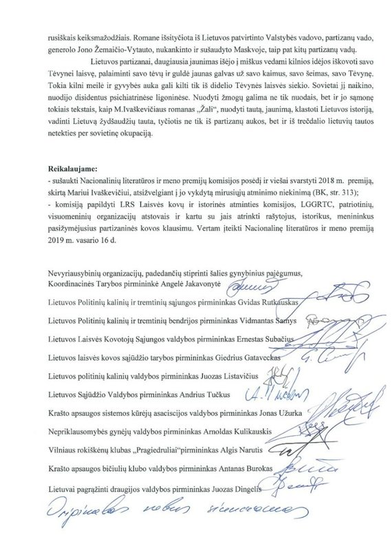 Angelės Jakavonytės nuotr./Prašymas atšaukti Nacionalinės kultūros ir meno premiją Mariui Ivaškevičiui