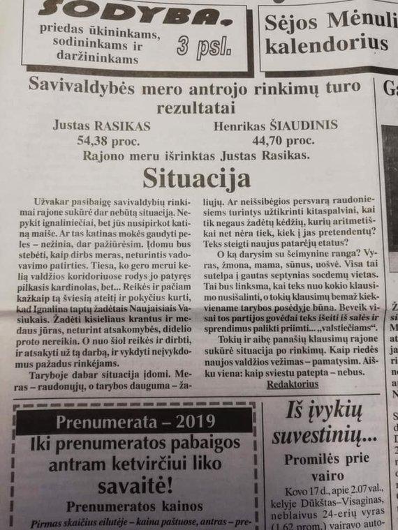 """Glorijos Trabšaitės nuotr./""""Mūsų Ignalina"""" redaktoriaus Jono Baltakio pasisakymas po 2019 m. merų rinkimų"""