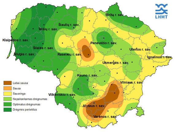 Lietuvos hidrometeorologijos tarnybos nuotr./Sausros žemėlapis