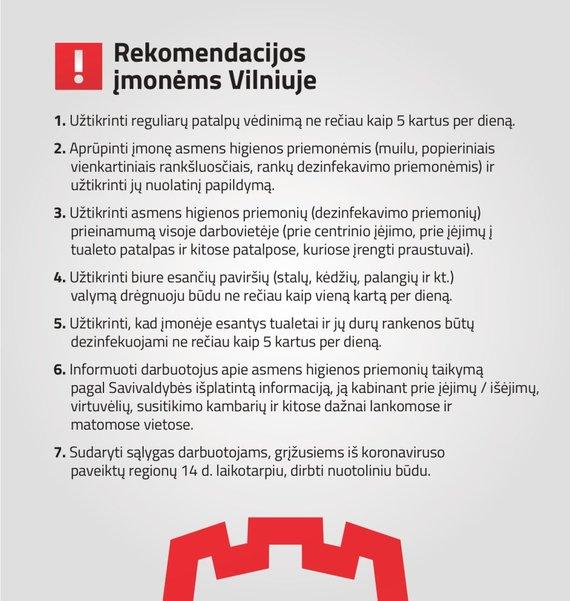 Vilniaus miesto savivaldybės nuotr./Rekomendacijos dėl koronaviruso grėsmės įmonėms Vilniuje