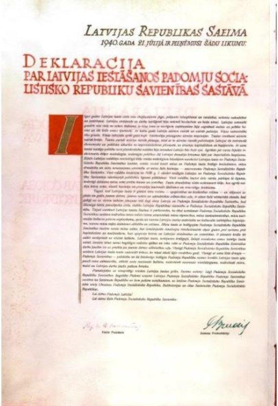 LGGRTC nuotr./Latvijos parlamento deklaracija