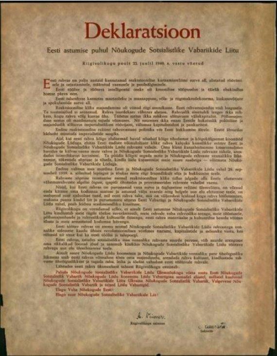 LGGRTC nuotr./Estijos parlamento deklaracija