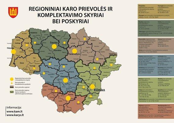 Krašto apsaugos ministerijos nuotr./Regioniniai karo prievolės ir komplektavimo centrai bei poskyriai