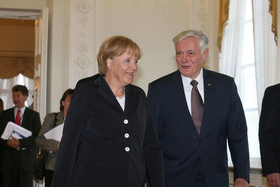 Irmanto Gelūno/ 15min nuotr./Angela Merkel ir Valdas Adamkus Lietuvoje 2008 metais