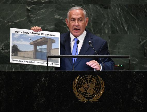 "AFP/""Scanpix"" nuotr./Benjaminas Netanyahu Jungtinių Tautų Generalinėje Asamblėjoje"