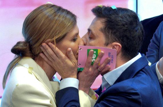 """Reuters""/""Scanpix"" nuotr./Volodymyras Zelenskis su žmona"