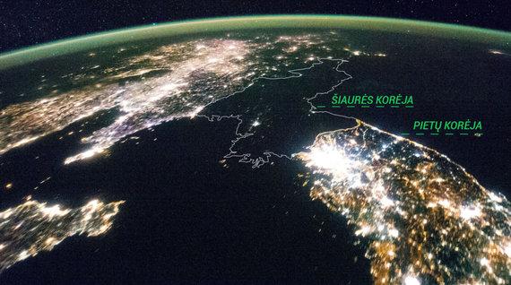 NASA nuotr./Korėjos pusiasalis iš kosmoso