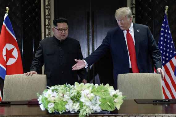 """""""Scanpix""""/AP nuotr./Kim Jong Unas ir Donaldas Trumpas"""