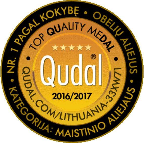 """Gamintojo nuotr./ Šveicarų kompanijos I CERTIAS QUDAL 2016-2017 m. sertifikatas """"Obelių aliejui"""""""