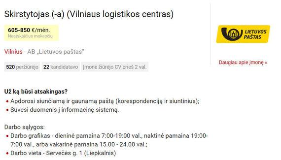 CVbankas.lt nuotr./Lietuvos pašto darbo skelbimas
