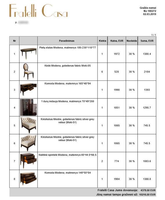 """Agnės atsiųsta nuotr./Agnės pirkti baldai iš """"Fratelli casa"""" salono"""