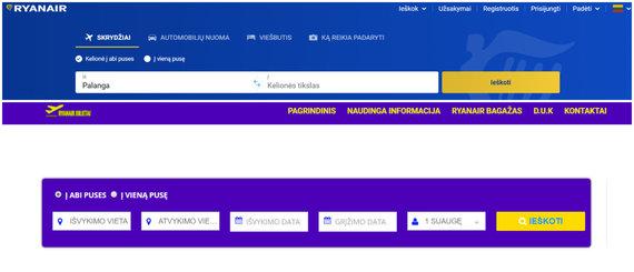 """Ekrano nuotr./Oficialus """"Ryanair"""" ir ryanairbilietai.com puslapiai"""